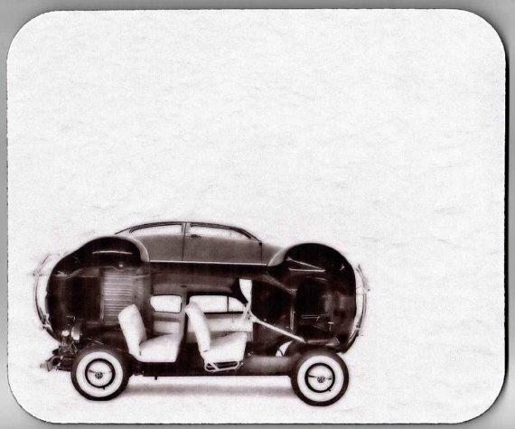 The Opened VW Beetle decorative Mouse Pad mid century futuristic bug car