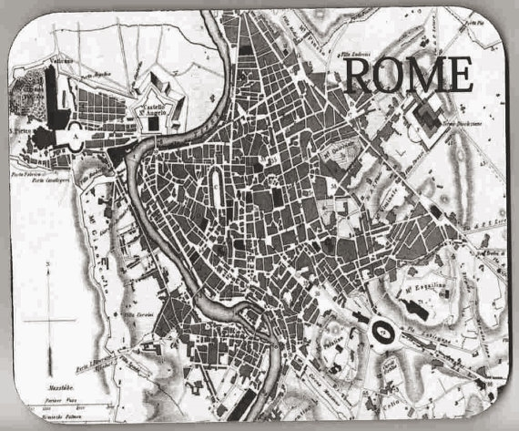 ROME Map Vintage Image Mouse Pad