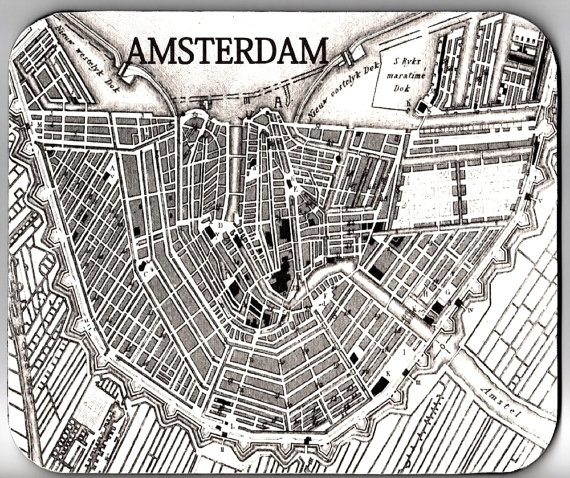 AMSTERDAM Map Vintage Image Mouse Pad