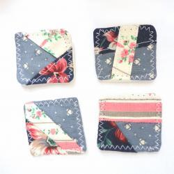 Magnets mini fabric patchwork unique set 4 OOAK dusty blue pink shabby